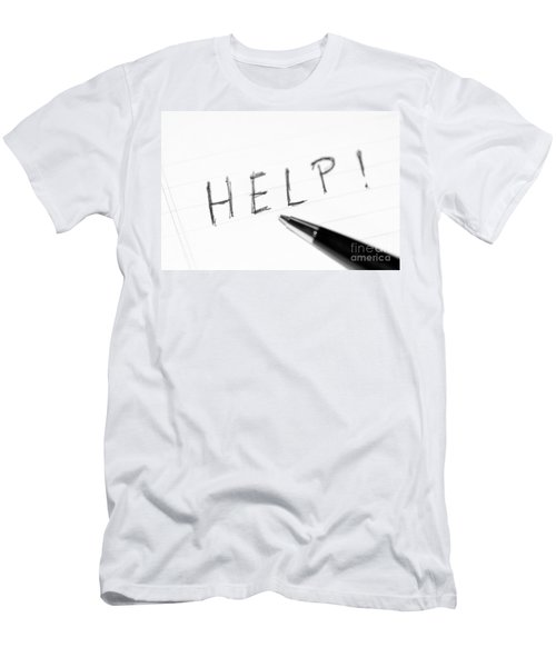 Men's T-Shirt (Slim Fit) featuring the photograph Pen Help Black White by Henrik Lehnerer