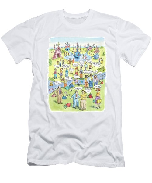 People Share Good News Around A Garden Men's T-Shirt (Athletic Fit)