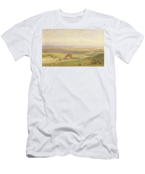 Pevensey Bay, Sussex, 1868 Wc, Bc, Graphite And Scraping On Paper Men's T-Shirt (Athletic Fit)