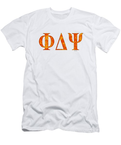 Men's T-Shirt (Slim Fit) featuring the digital art Phi Delta Psi - White by Stephen Younts