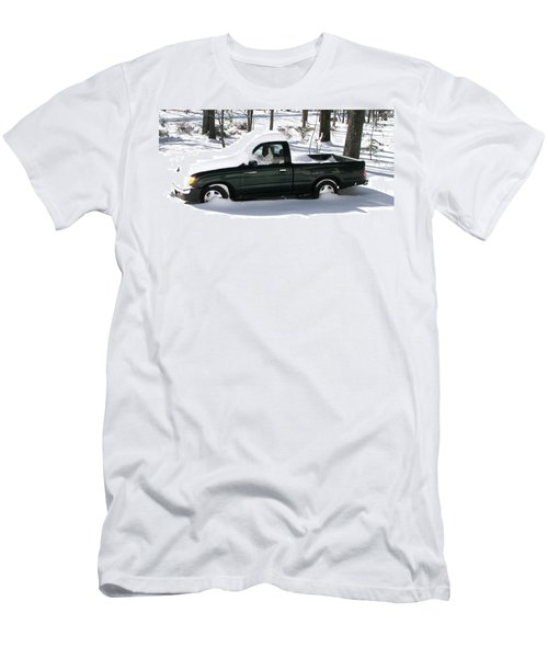 Men's T-Shirt (Slim Fit) featuring the photograph Pickup In The Snow by Pamela Hyde Wilson