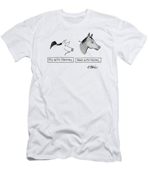 Pig With Ponytail Pony With Pigtail: Title Men's T-Shirt (Athletic Fit)