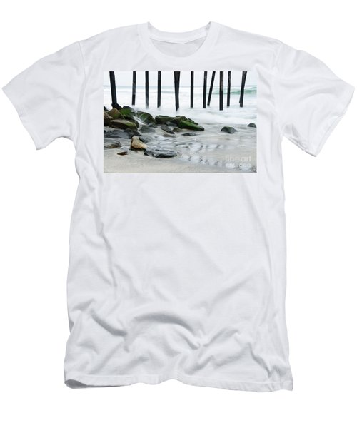 Pilings At Oceanside Men's T-Shirt (Slim Fit) by Vivian Christopher