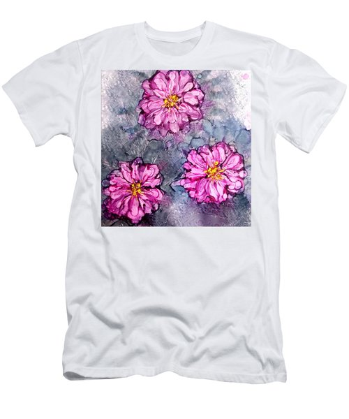 Pink Dahlia Blooms Alcohol Inks Men's T-Shirt (Athletic Fit)