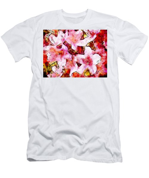 Men's T-Shirt (Slim Fit) featuring the painting Pink Flowers 2 by Greg Collins