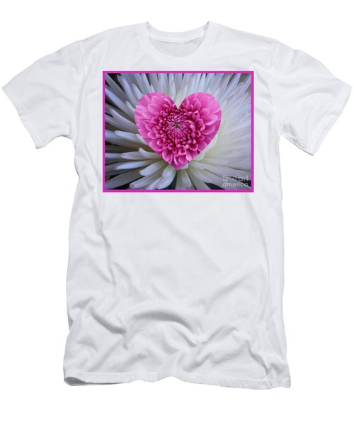 Pink Heart On White Men's T-Shirt (Athletic Fit)