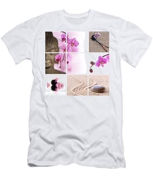 Pink Orchid And Buddha Collage Men's T-Shirt (Athletic Fit)