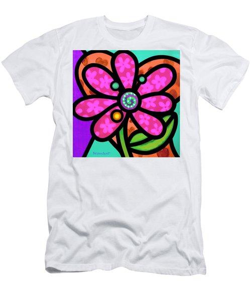 Pink Pinwheel Daisy Men's T-Shirt (Athletic Fit)