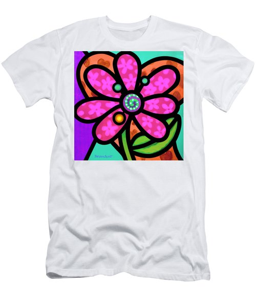 Pink Pinwheel Daisy Men's T-Shirt (Athletic Fit)