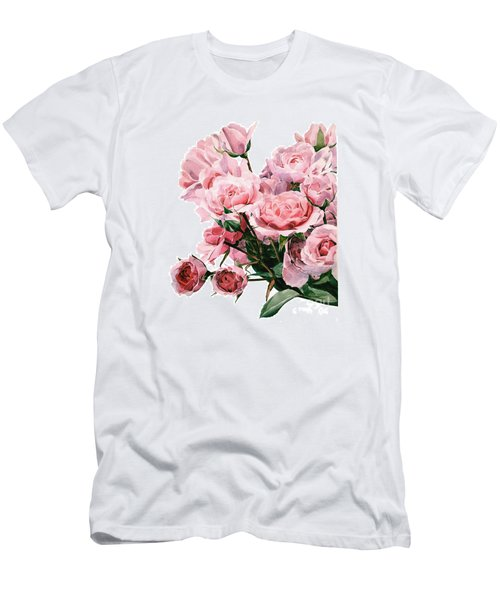 Pink Rose Bouquet Men's T-Shirt (Athletic Fit)