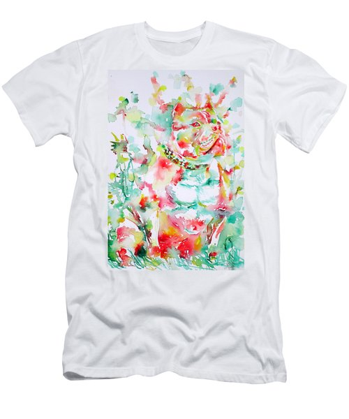 Pit Bull In The Garden Men's T-Shirt (Athletic Fit)
