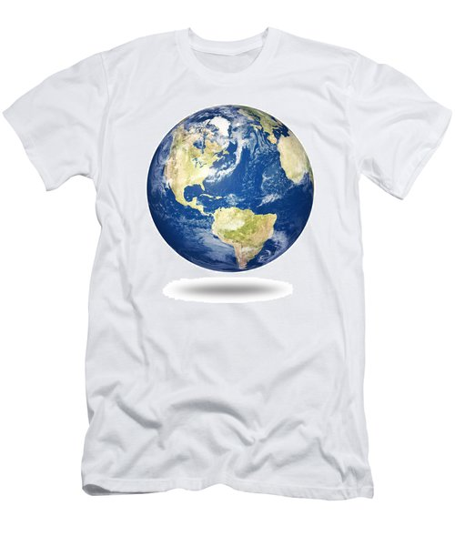 Planet Earth On White - America Men's T-Shirt (Athletic Fit)