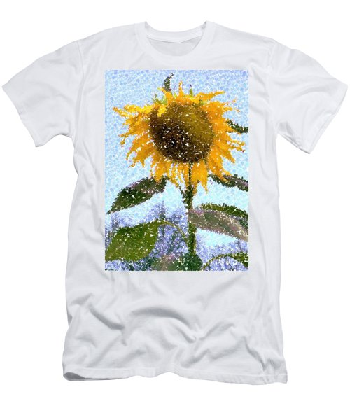 Pointillist Sunflower In Sun City Men's T-Shirt (Athletic Fit)