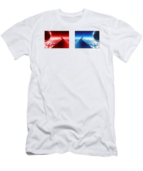 Men's T-Shirt (Slim Fit) featuring the photograph Red Blue Jet Pop Art Planes  by R Muirhead Art