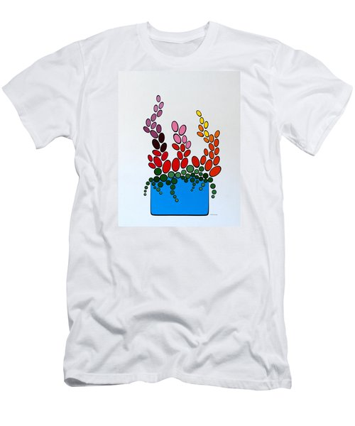 Potted Blooms - Blue Men's T-Shirt (Slim Fit) by Thomas Gronowski