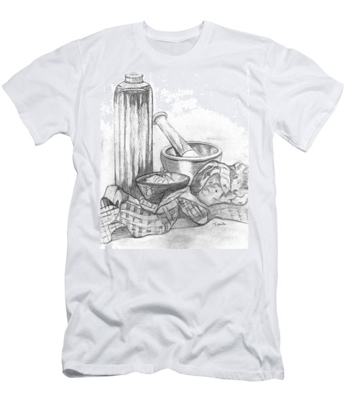 Men's T-Shirt (Slim Fit) featuring the drawing Preparing Starter Course by Teresa White