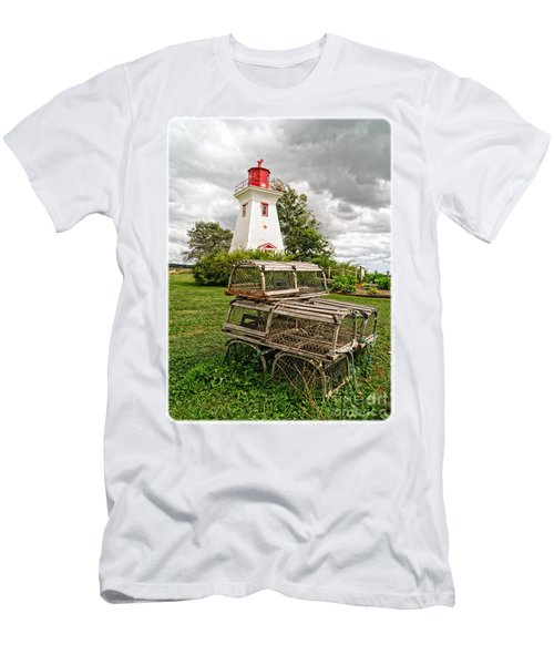 Prince Edward Island Lighthouse With Lobster Traps Men's T-Shirt (Athletic Fit)