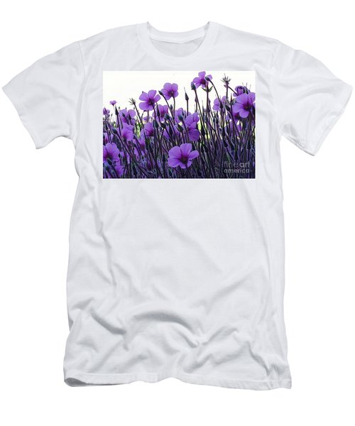 Men's T-Shirt (Slim Fit) featuring the photograph Purple Flowers Dance by Jasna Gopic