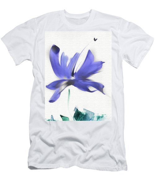 Men's T-Shirt (Slim Fit) featuring the mixed media Purple Iris In The Greenery by Frank Bright