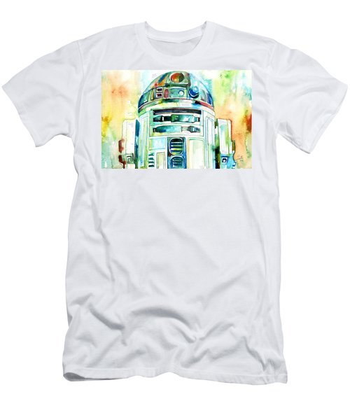 R2-d2 Watercolor Portrait Men's T-Shirt (Athletic Fit)