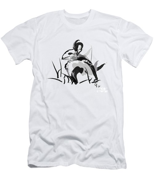 Rabbit Bunny Black White Grey Men's T-Shirt (Athletic Fit)