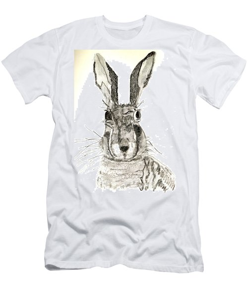 Men's T-Shirt (Slim Fit) featuring the drawing Rabbit by Sandy McIntire