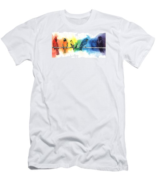 Rainbow Birds Men's T-Shirt (Slim Fit) by Antony Galbraith