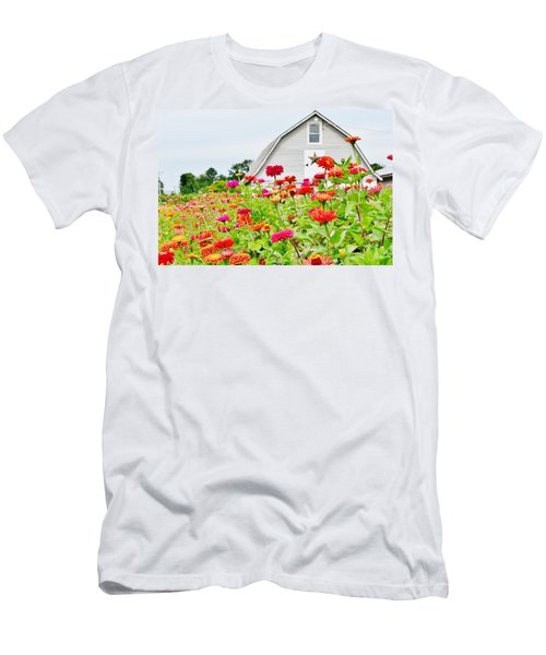 Raising Zinnia Flowers - Delaware Men's T-Shirt (Athletic Fit)