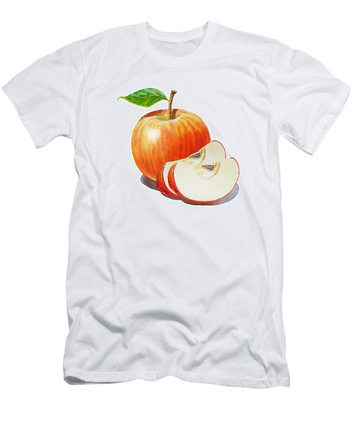 Red Apple With Slices Men's T-Shirt (Athletic Fit)