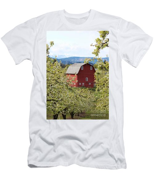 Men's T-Shirt (Slim Fit) featuring the photograph Red Barn And Apple Blossoms by Patricia Babbitt