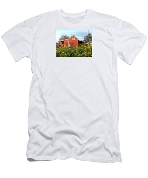 Red Barn With Wild Sunflowers Men's T-Shirt (Slim Fit) by Susan Williams