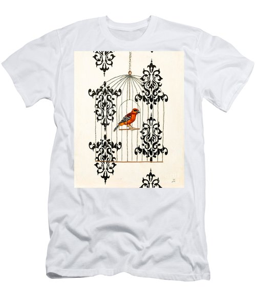 Red Finch Men's T-Shirt (Slim Fit) by Stefanie Forck