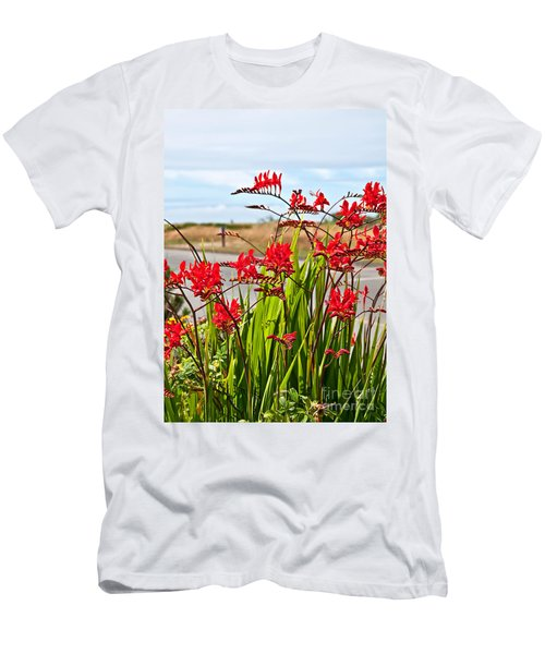 Red Flowers Crocosmia Lucifer Montbretia Plant Art Prints Men's T-Shirt (Athletic Fit)
