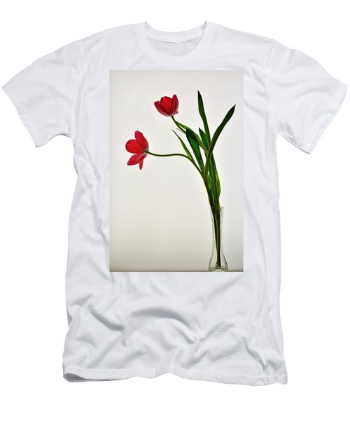 Red Flowers In Glass Vase Men's T-Shirt (Athletic Fit)