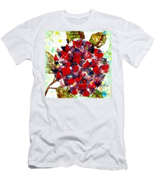 Men's T-Shirt (Slim Fit) featuring the painting Red Purple Flower by Joan Reese