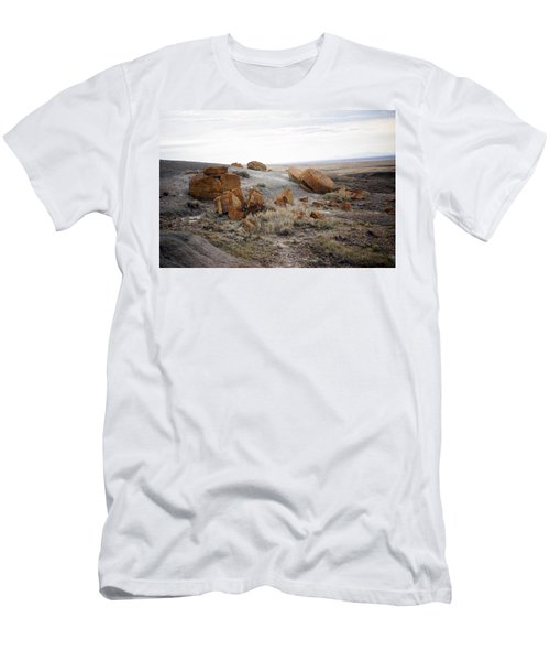 Red Rock Coulee II Men's T-Shirt (Slim Fit) by Leanna Lomanski