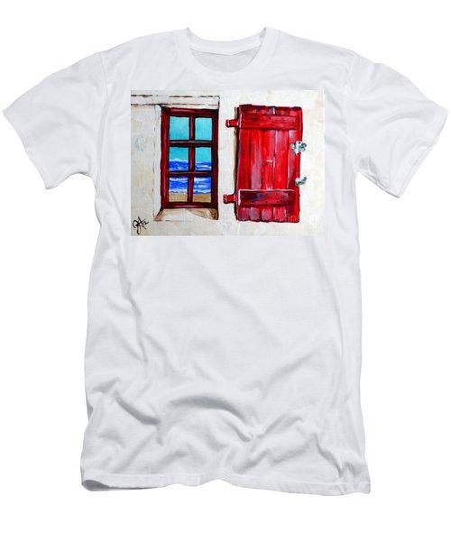 Red Shutter Ocean Men's T-Shirt (Slim Fit) by Jackie Carpenter