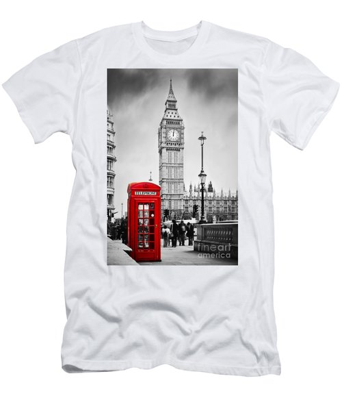 Red Telephone Booth And Big Ben In London Men's T-Shirt (Athletic Fit)