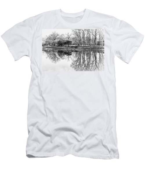 Reflection In Black And White Men's T-Shirt (Slim Fit) by Julie Palencia