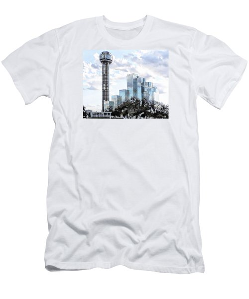 Men's T-Shirt (Slim Fit) featuring the photograph Reunion Tower Dallas Texas by Kathy Churchman
