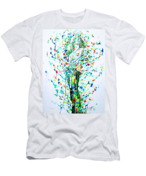 Robert Plant Singing - Watercolor Portrait Men's T-Shirt (Slim Fit) by Fabrizio Cassetta