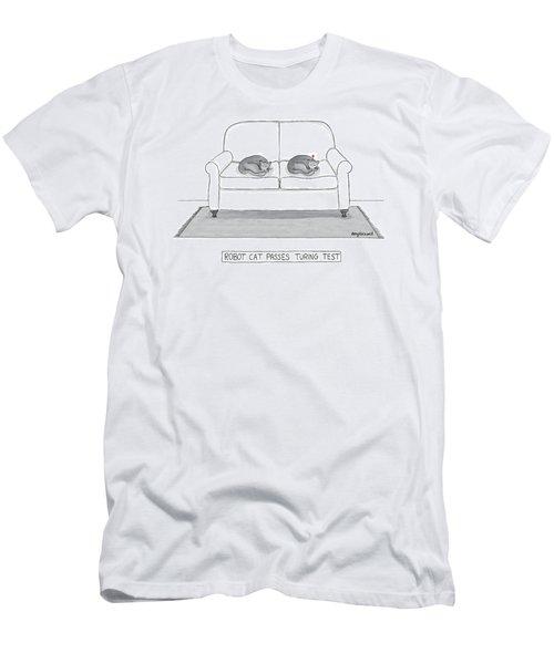 Robot Cat Passes Turing Test Men's T-Shirt (Athletic Fit)