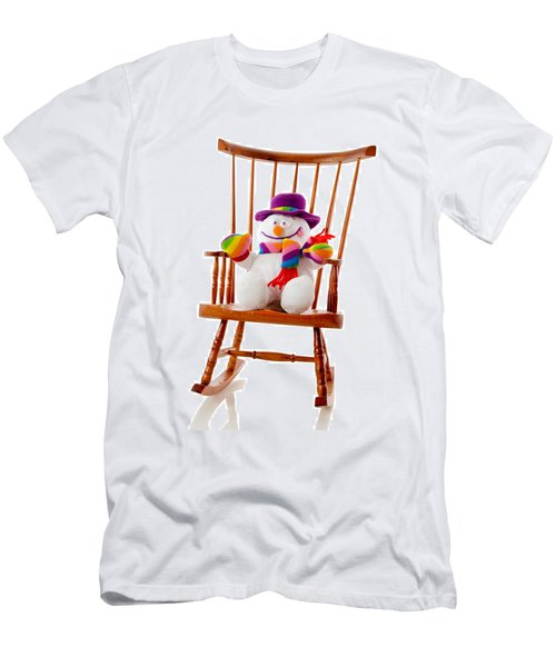 Men's T-Shirt (Slim Fit) featuring the photograph Happy Snowman Sitting In A Rocking Chair  by Vizual Studio