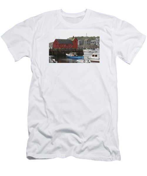 Rockport Inner Harbor With Lobster Fleet And Motif No.1 Men's T-Shirt (Slim Fit) by Christiane Schulze Art And Photography