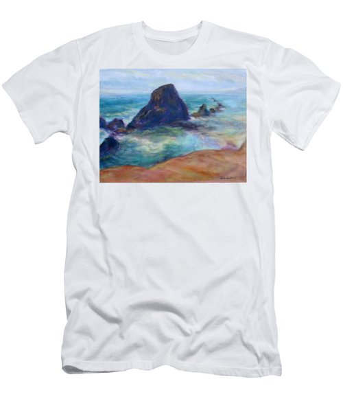 Rocks Heading North - Scenic Landscape Seascape Painting Men's T-Shirt (Athletic Fit)