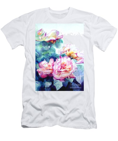 Men's T-Shirt (Slim Fit) featuring the painting Pink Rose Bush by Greta Corens