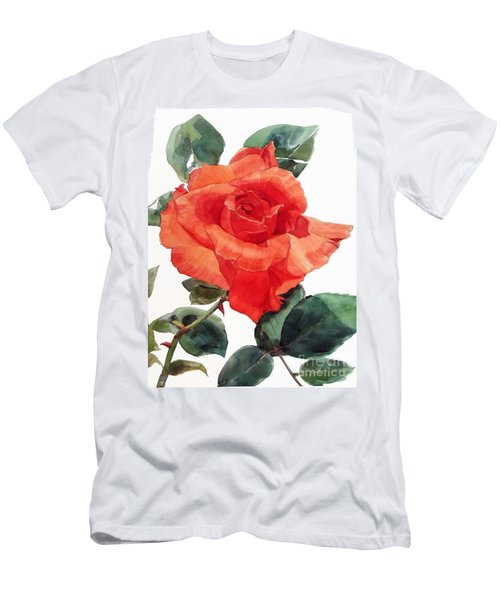 Watercolor Of A Single Red Rose I Call Red Rose Filip Men's T-Shirt (Athletic Fit)
