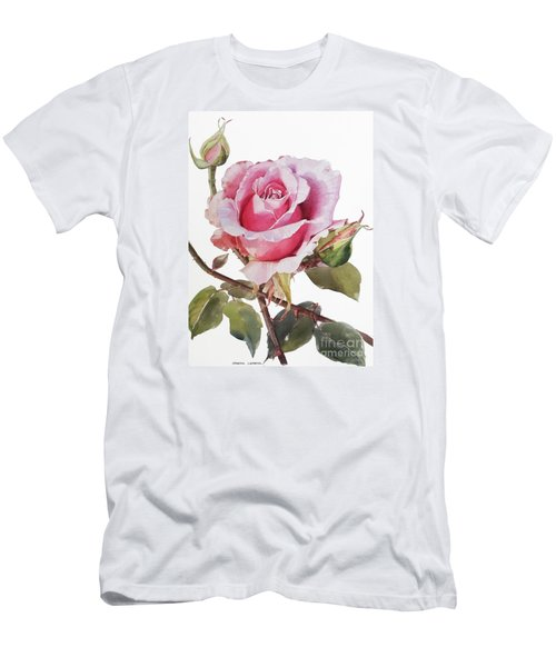 Watercolor Of Pink Rose Grace Men's T-Shirt (Athletic Fit)