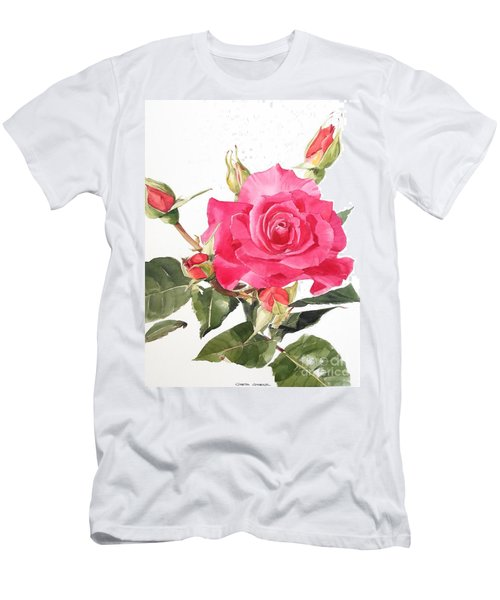 Watercolor Red Rose Margaret Men's T-Shirt (Athletic Fit)