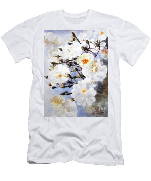 Rose Tchaikowsky A Stem Of White Roses And Buds Men's T-Shirt (Slim Fit) by Greta Corens